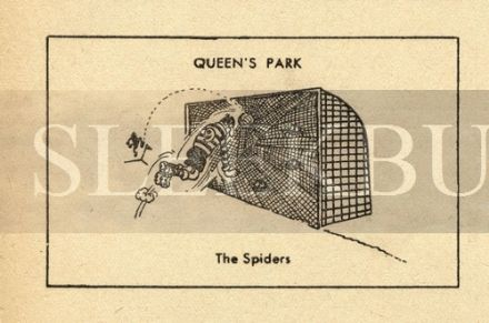 VINTAGE Football Print QUEENS PARK - THE SPIDERS Funny Cartoon
